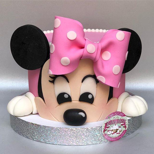 Ponqué con la cara de Minnie Mouse Bebé.